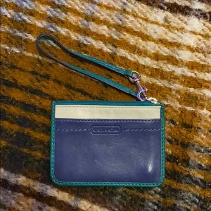 Coach mini wristlet blue leather with keychain